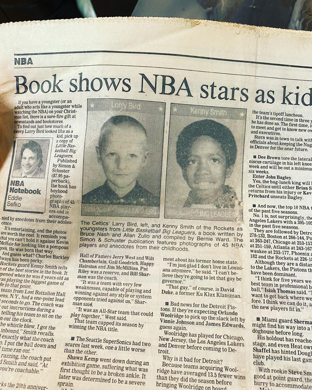 肯尼-史密斯更新Ins,晒印有自己和伯德童年时期的旧报纸