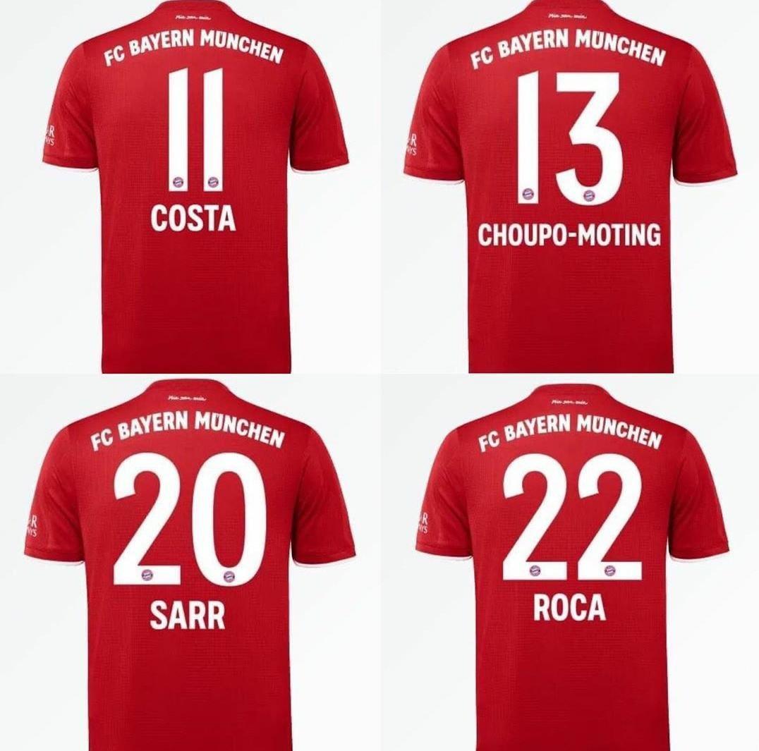 拜仁更新一线队球衣号码:道格拉斯-科斯塔再披11号