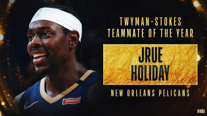 朱-霍勒迪获得2019-20赛季的最佳队友奖
