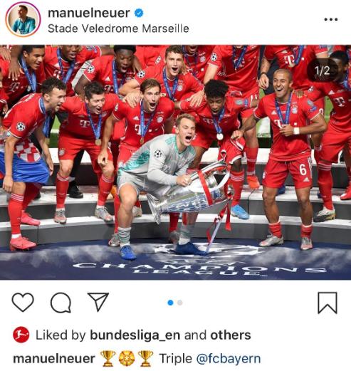 诺伊尔欧冠决赛后定位在马赛庆祝冠军,屈桑斯:和我无关