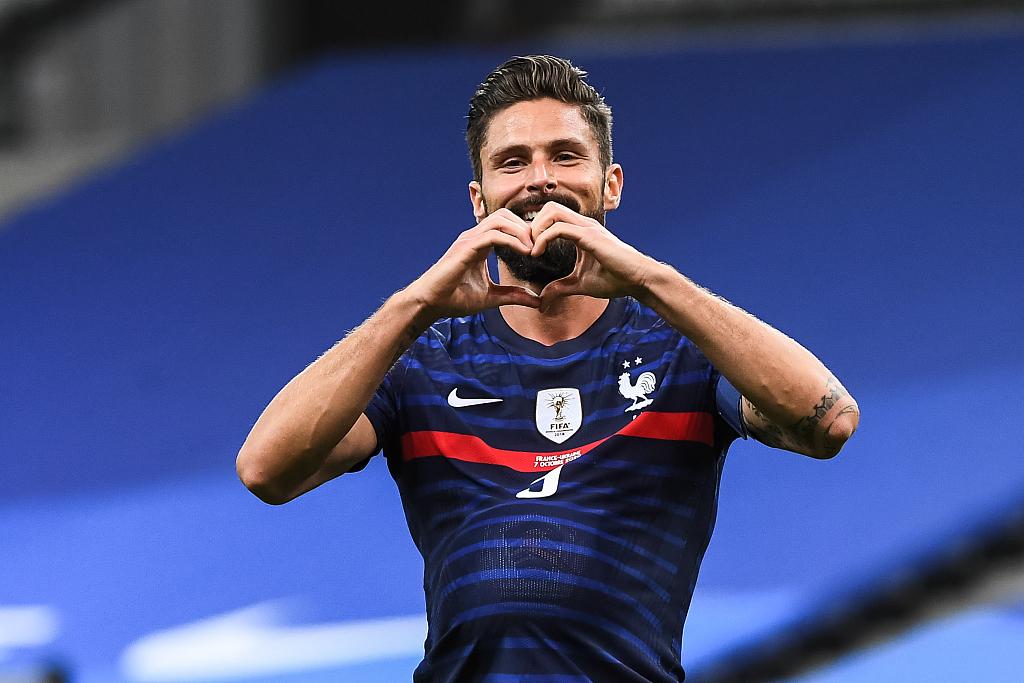 友谊赛:吉鲁双响姆巴佩替补传射,法国7-1乌克兰