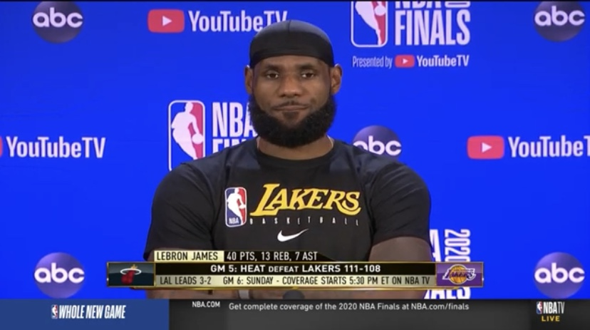 詹姆斯:我们必须在G6打得更好,然后结束系列赛