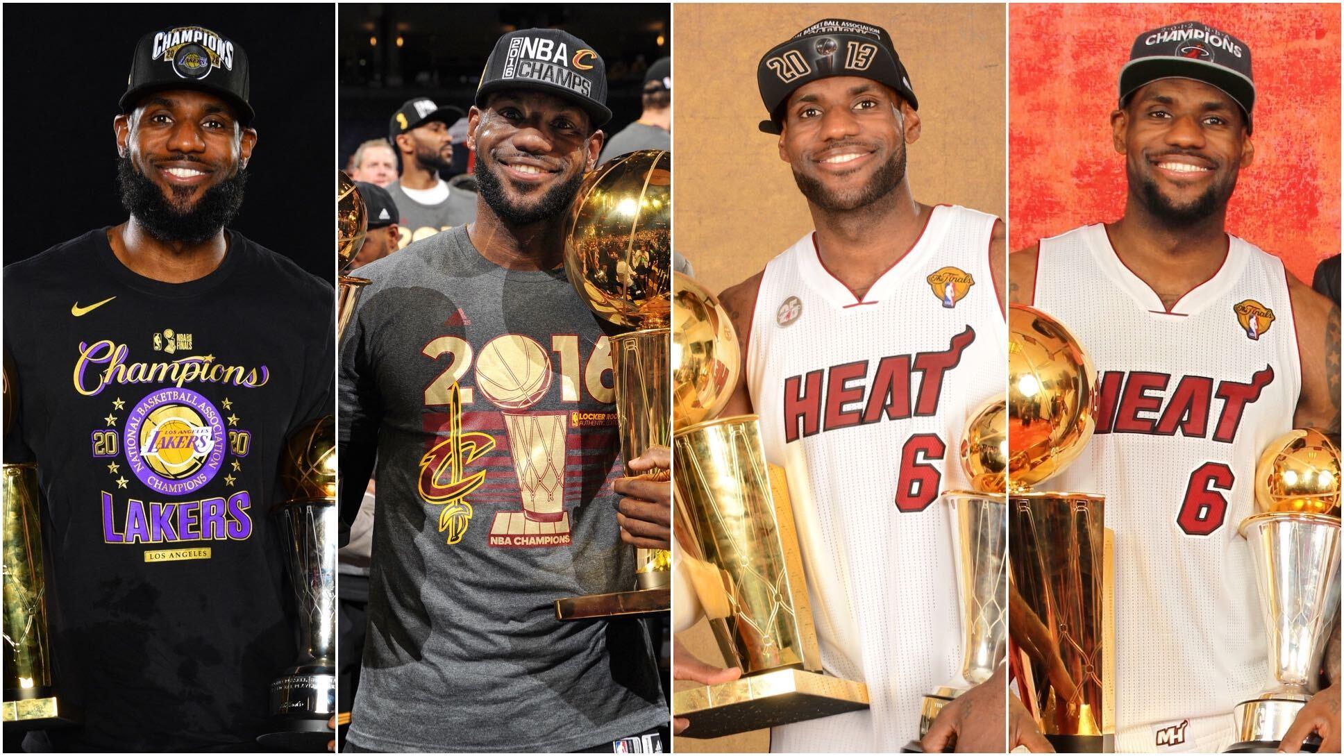 NBA官推发布詹姆斯生涯夺冠定妆照:4届冠军詹姆斯