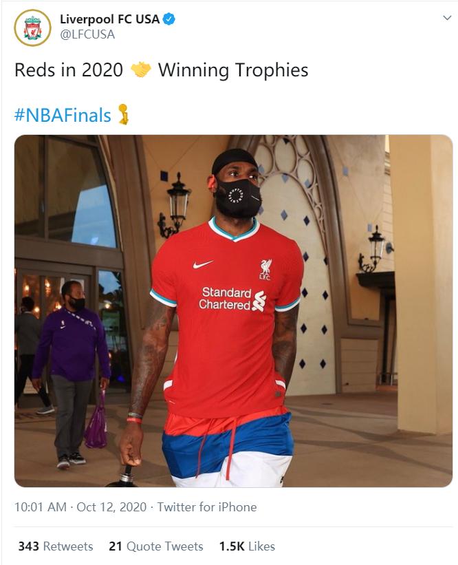 给小老板道贺!利物浦官推为詹姆斯送上夺冠祝福