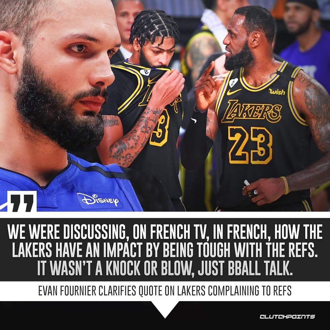 富尼耶再谈湖人裁判言论:不是抨击,只是篮球方面的讨论