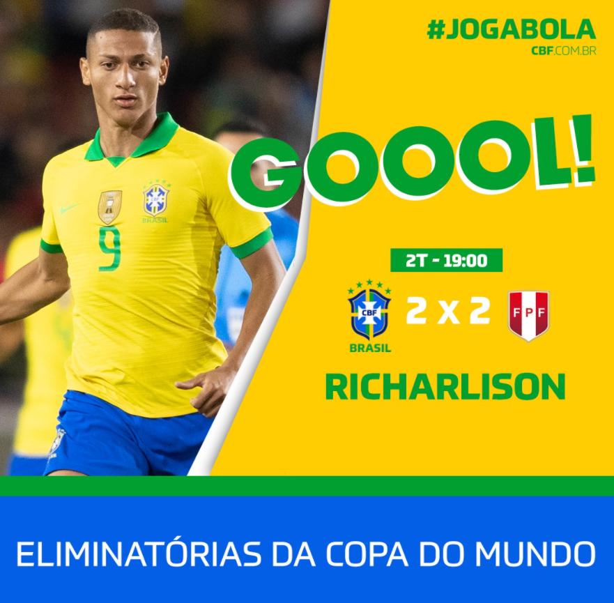 GIF:菲尔米诺助攻理查利森破门,秘鲁2-2巴西