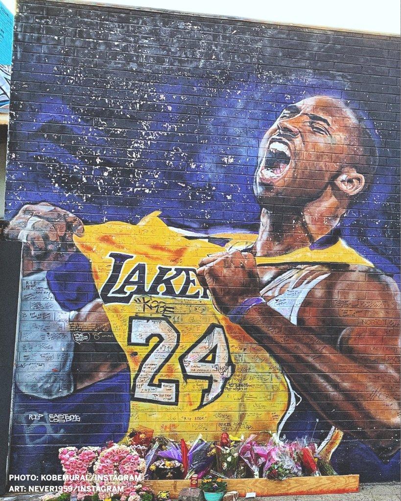 ESPN更新推特,晒出多张洛杉矶街头科比和冠军主题的壁画