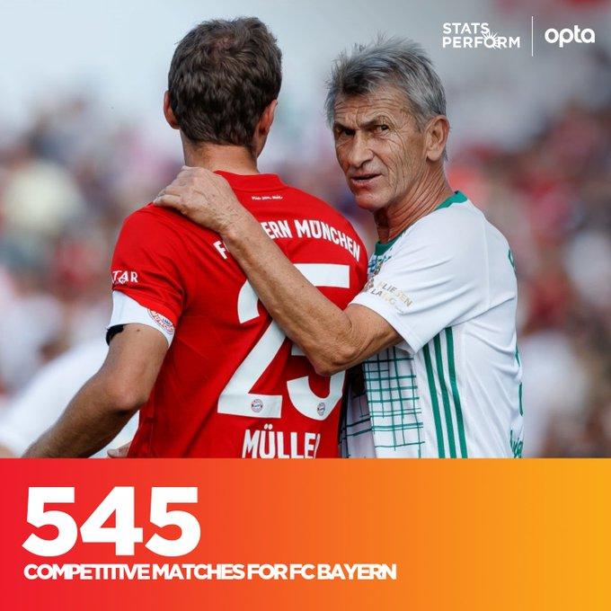 穆勒为拜仁出场545次并列队史第三,距第一的盖德穆勒差20场