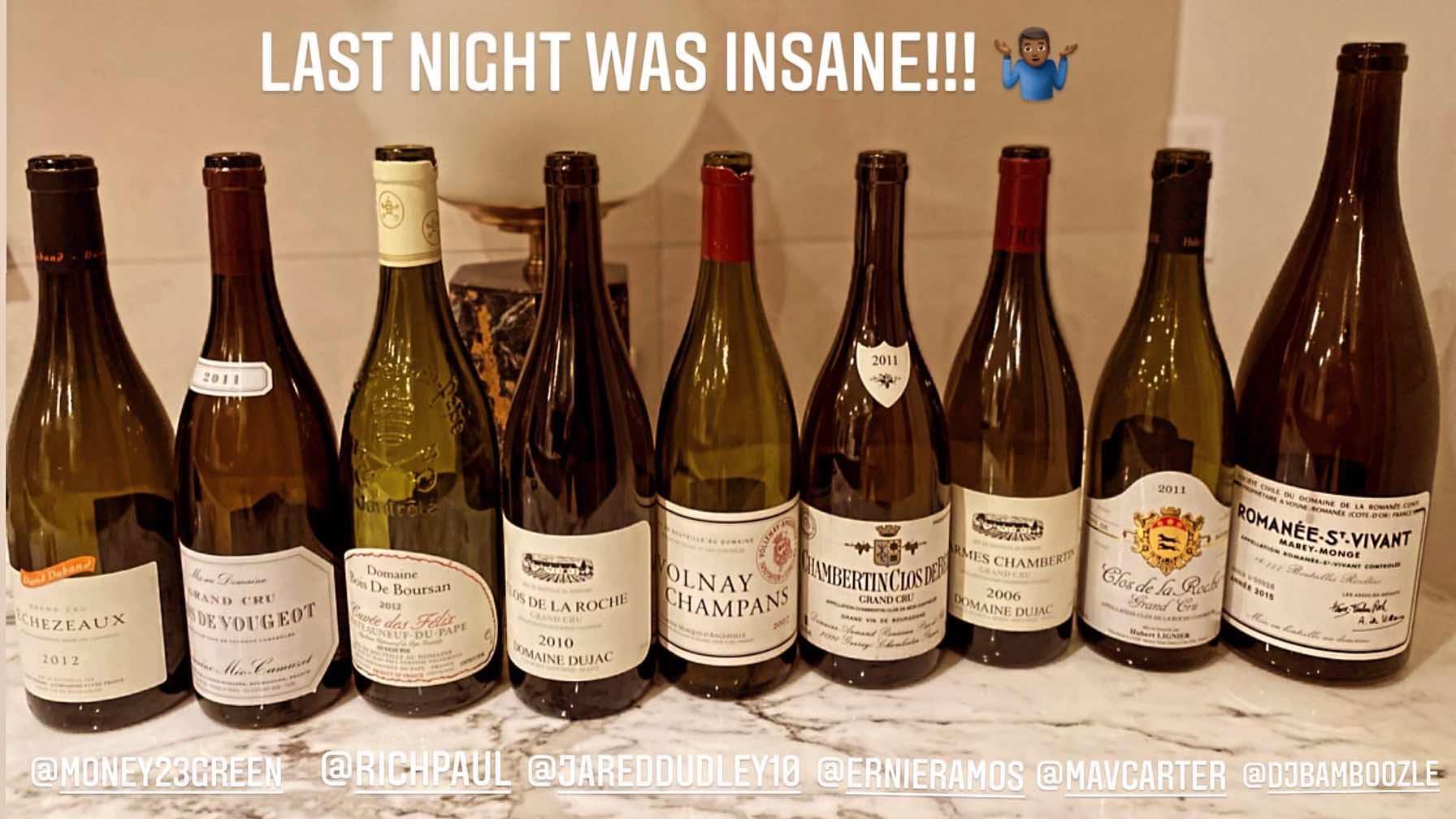 名酒展览?詹姆斯晒昨日聚餐酒品:昨晚很疯狂!