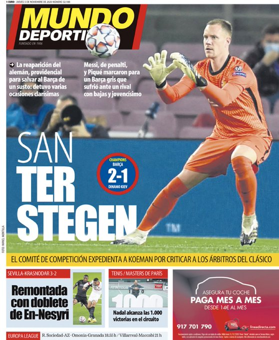 世体封面夸特狮:圣特尔施特根,回归后首场比赛贡献6次扑救