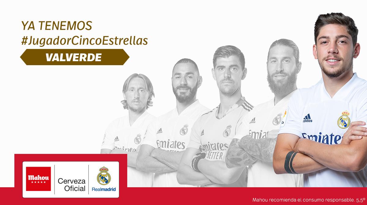 官方:费德里科-巴尔韦德被评选为10月皇马最佳球员