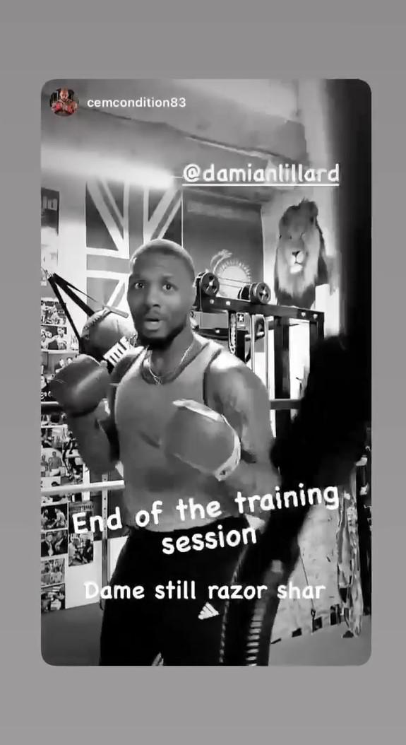 利拉德练习拳击,大发最新网站多少训练师:训练已经结束了,他还在打
