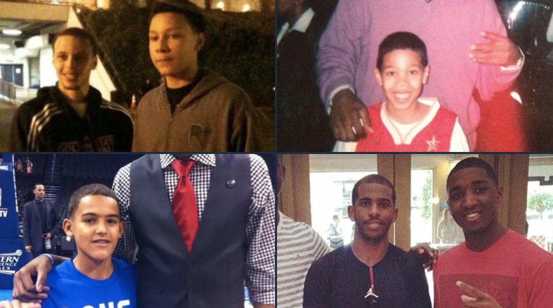 美媒晒出一组年轻球员童年和NBA球星的合影与球迷分享